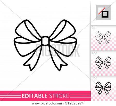 Bow Single Thin Line Icon. Ribbon Flat Banner. Gift Design, Present Decoration Linear Pictogram. Sim