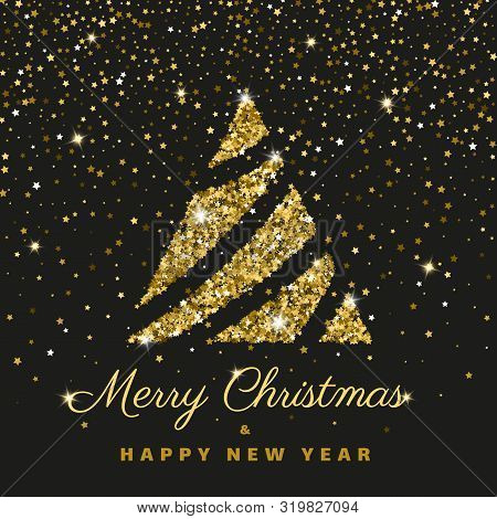 Merry Christmas Happy New Year Greeting Flat Illustration Text Concept Card. Winter Holiday Gold Gli