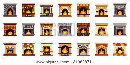 Fireplace Color Flat Icons Set. Simple Christmas Fire, Cozy, Santas Present, Sock Symbol, Cartoon St
