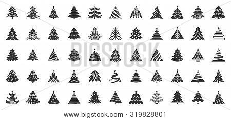 Christmas Tree Flat Glyph Icons Set. Xmas Symbol, Simple Pictogram Collection. Winter Season Design