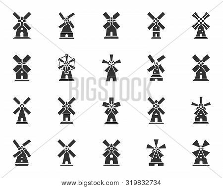 Windmill Silhouette Icons Set. Grain Flour Mill Symbol, Simple Shape Pictogram Collection. Farm Wind