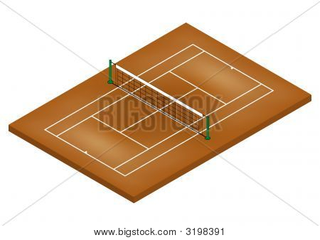 Tennis Court - Clay Surface - Isometric View