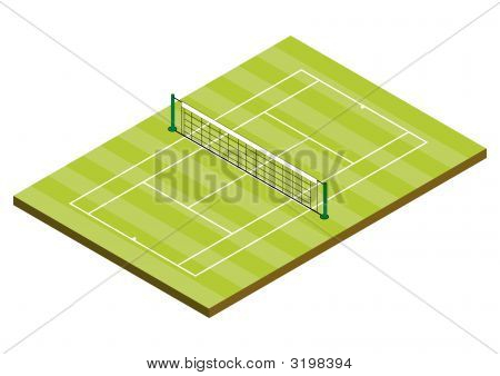 Tennis Court - Grass Surface - Isometric View