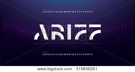 Abstract Modern Alphabet Fonts. Typography Electronic Digital Game Music Future Creative Italic Font
