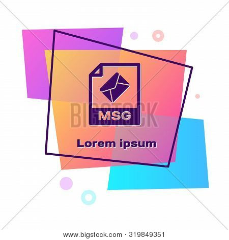 Purple Msg File Document. Download Msg Button Icon Isolated On White Background. Msg File Symbol. Co