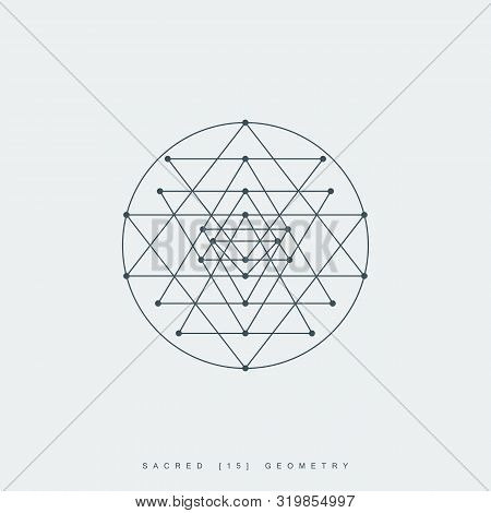 Thin Line Sri Yantra Mandala. Outline Symbol Of Hindu Tantra. Lineart Sri Chakra. Sacred Geometry. L