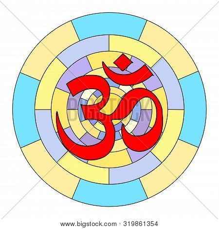 Buddhist Symbol Ohm Illustration On White Background. Om.