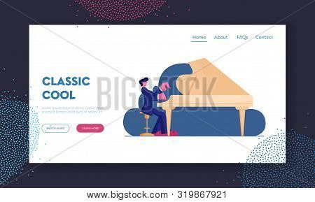 Talented Artist Performing On Scene Website Landing Page. Pianist Playing Musical Composition On Gra