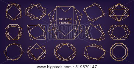 Golden Geometric Frame. Wedding And Birthday Invitation Cards Line Polyhedron Elements, Modern Art D