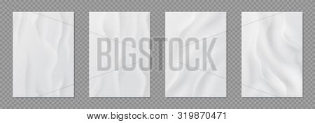 Glued paper. Realistic wet wrinkled posters, white blank creased paper with wheatpaste, adhesive stickers set. Vector wet banners on a street billboard poster