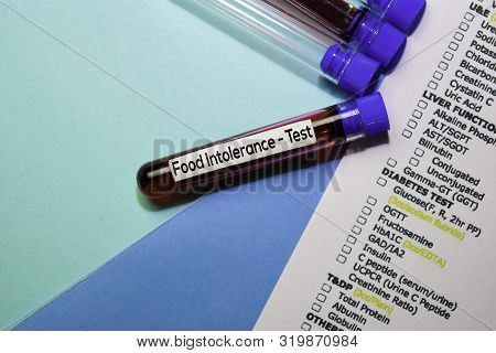 Food Intolerance - Test With Blood Sample. Top View Isolated On Office Desk. Healthcare/medical Conc