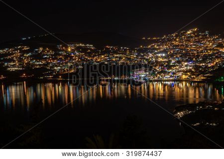 Nightrime Cityscape Of Turkish Coastal City Kalkan