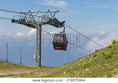 Chamrousse, France, July 17, 2019 : Cable Car In Chamrousse, A Ski Resort Of Belledonne Mountain Ran