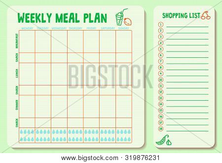 Weekly Meal Plan. Meal Plan For A Week, Calendar Page, Shopping List, Water Intake Scheme. Diet Plan