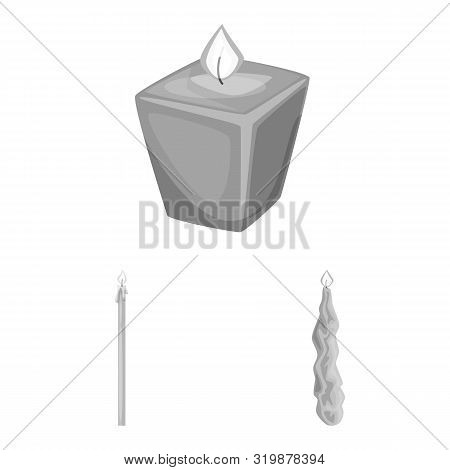 Vector Illustration Of Paraffin And Fire Icon. Collection Of Paraffin And Decoration Stock Vector Il