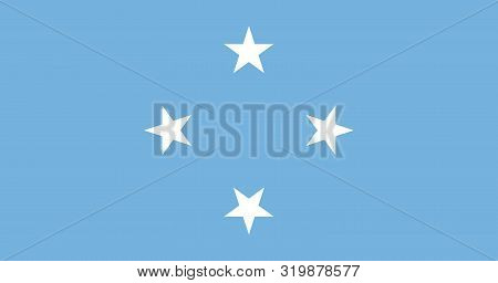 Flag Of The Federated States Of Micronesia Vector Illustration, Worlds Flags Collection