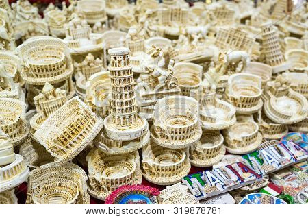 Rome, Italy - June 21, 2019: Souvenirs And Magnets Are Sold In The Market.