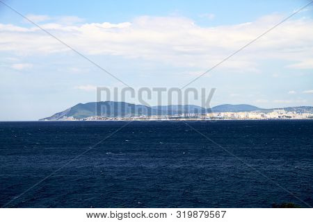 View Across The Sea To The City Port Of Novorossiysk, Russia.