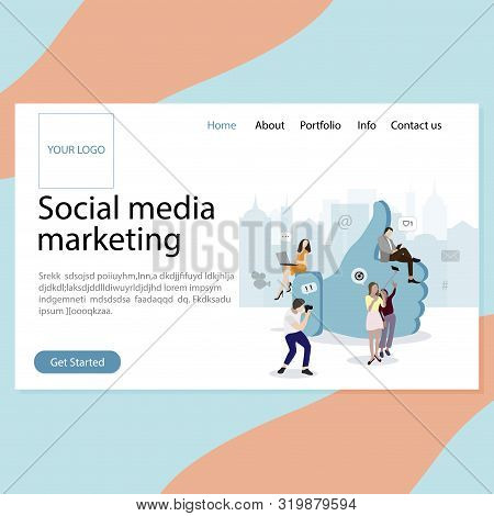 Smm Service Landing Page. Promotion In Social Media, Increase Followers Consumers And Likes. Develop
