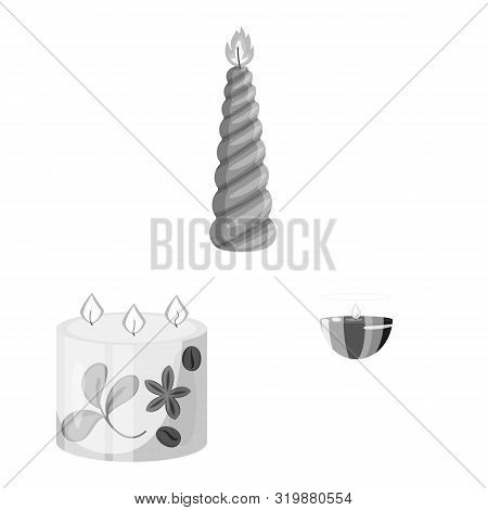 Isolated Object Of Paraffin And Fire Symbol. Set Of Paraffin And Decoration Vector Icon For Stock.