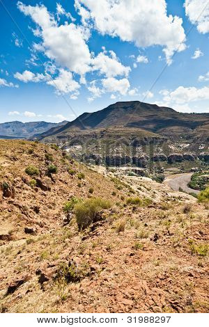 Rocky Mountain Landscape With Dry Riverbed