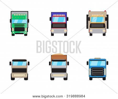 Trailer Trucks Front View Icon Set Isolated On White. Commercial Lorry Truck With Container, Dump Tr