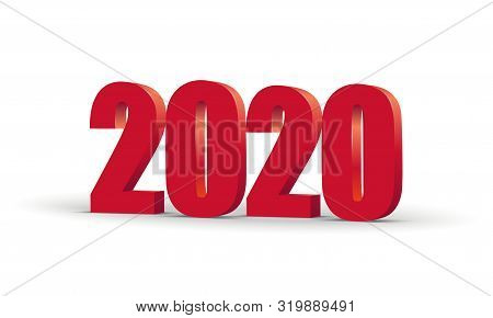 Happy New Year 2020 Celebration 3d Text. Red 2020 Number Calendar Template. Colorful, Volumetric Pap