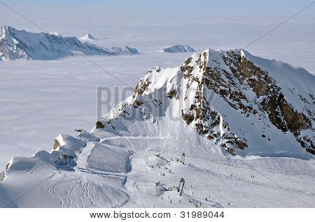 Skiers Enjoy A Sunny Day In Kitzsteinhorn Ski Resort, Austria
