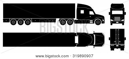 Semi Trailer Truck Silhouette On White Background. Vehicle Icons Set View From Side, Front, Back, An