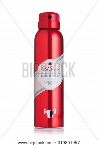 London, Uk - August 29, 2019: Old Spice Original Deodorant Body Spray On White Background.