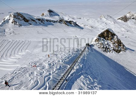 Skiers Enjoy A Sunny Day In Kitzsteinhorn Ski Resort, Austria