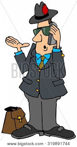 Illustration Of A Businessman With His Briefcase Beside Him Talking On A Cell Phone.