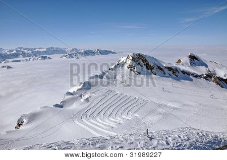 Slopes In The Ski Resort Kitzsteinhorn, Austria