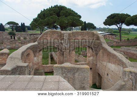 Italy, Ostia - April 16 2017: The View Of Caseggiato Degli Aurighi In The Ancient Roman Port Of Osti