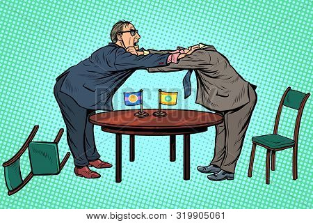 Headless Pattern Policy Diplomacy And Negotiations. Fight Opponents. Pop Art Retro Vector Illustrati