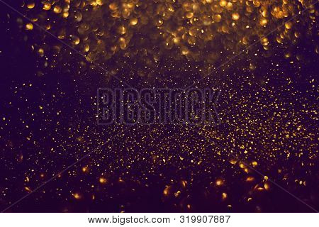 Abstract Dark Gold Sparkles Shiny Bokeh Lights Background Use Us Gold Luxury Background For Card, Fl