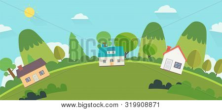 Beautiful Nature Landscape With Houses And Hills Background.home With Green Hills And Blue Sky .worl