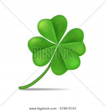 Realistic 3d Detailed Green Shamrock Leaf Isolated On A White Background Symbol Of Celebration Irish