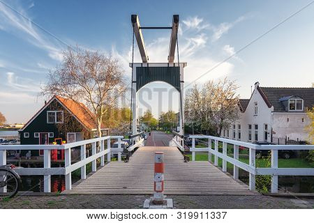 The Wooden Drawbridge On The Houthavenkade In The City Of Zaandam In The Netherlands