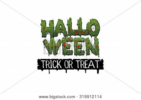Happy Halloween Party Comic Text Font. Green Color Zombie Font For Halloween Holiday Party. Trick Or