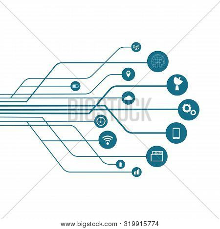 Abstract Technology Background With Lines, Circles And Icons. Growth Tree Concept With Mobile Phone,