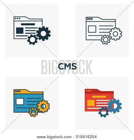 Cms Icon Set. Four Elements In Diferent Styles From Content Icons Collection. Creative Cms Icons Fil