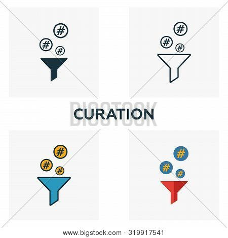 Curation Icon Set. Four Elements In Diferent Styles From Content Icons Collection. Creative Curation
