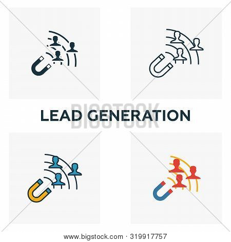 Lead Generation Icon Set. Four Elements In Diferent Styles From Content Icons Collection. Creative L