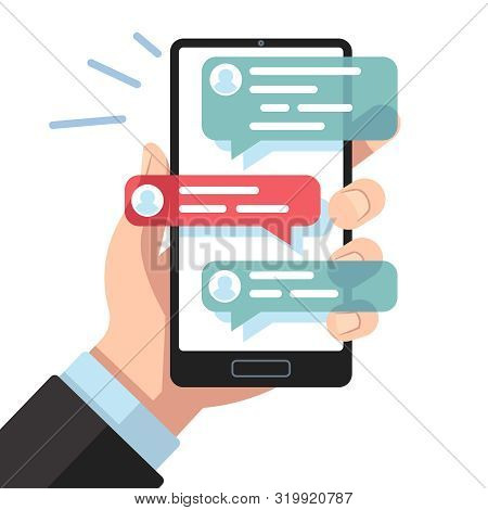 Mobile Sms Notifications. Hand With Smartphone With Online Texting Messages. Dialogue Interfaces, Ch
