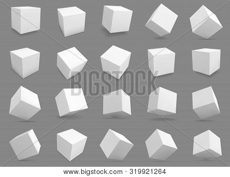 3d Cubes. White Blocks With Different Lighting And Shadows, Boxes In Perspective. Abstract Geometric