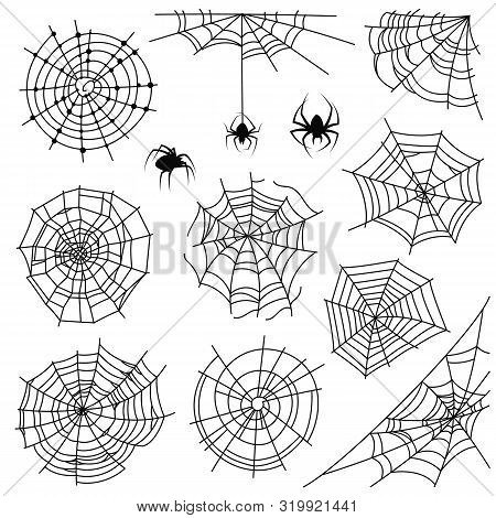 Cobweb. Halloween Monochrome Spiderweb And Dangerous Spider. Web Silhouettes For Creepy Horror Tatto