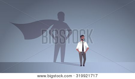 African American Businessman Dreaming About Being Super Hero Shadow Of Man With Cape Imagination Asp