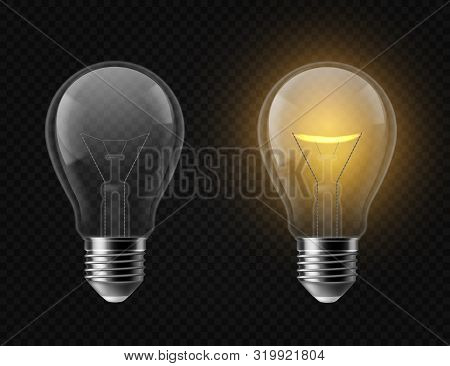 Realistic Light Bulb. Turned Off And Glowing Isolated Lamps. Creative Idea And Innovation Lightbulb