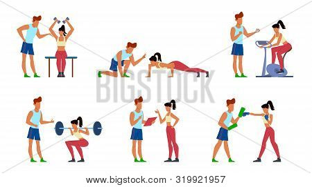 Fitness Trainer. Gymnastics Exercising In Gym With Instructor, Active Sport Woman, Athletic Training